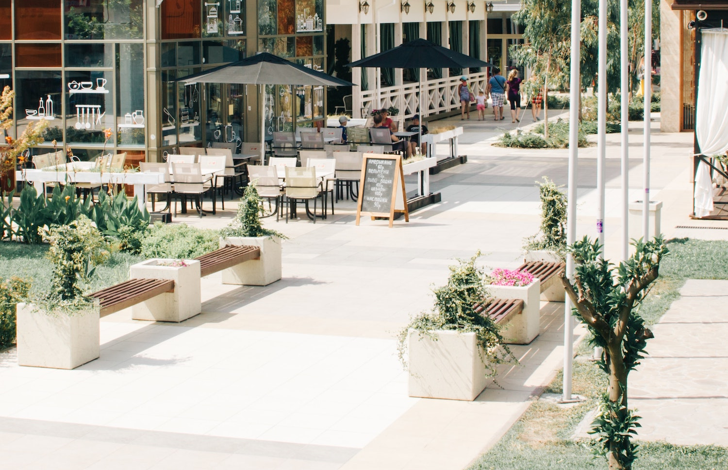 A hip city with al fresco dining on a beautiful sunny day
