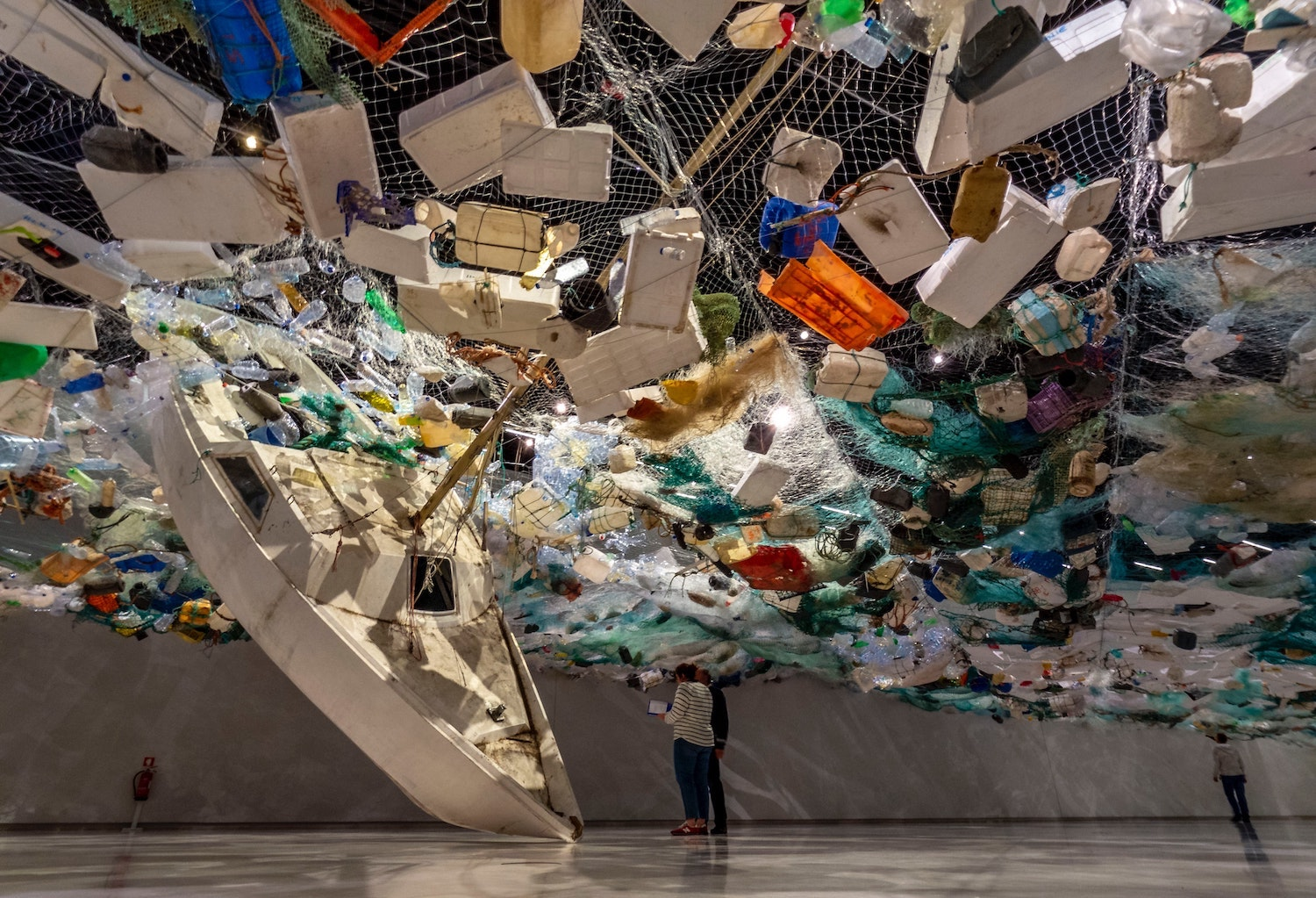 Plastic pollution exhibit showing the amount of plastic in our oceans