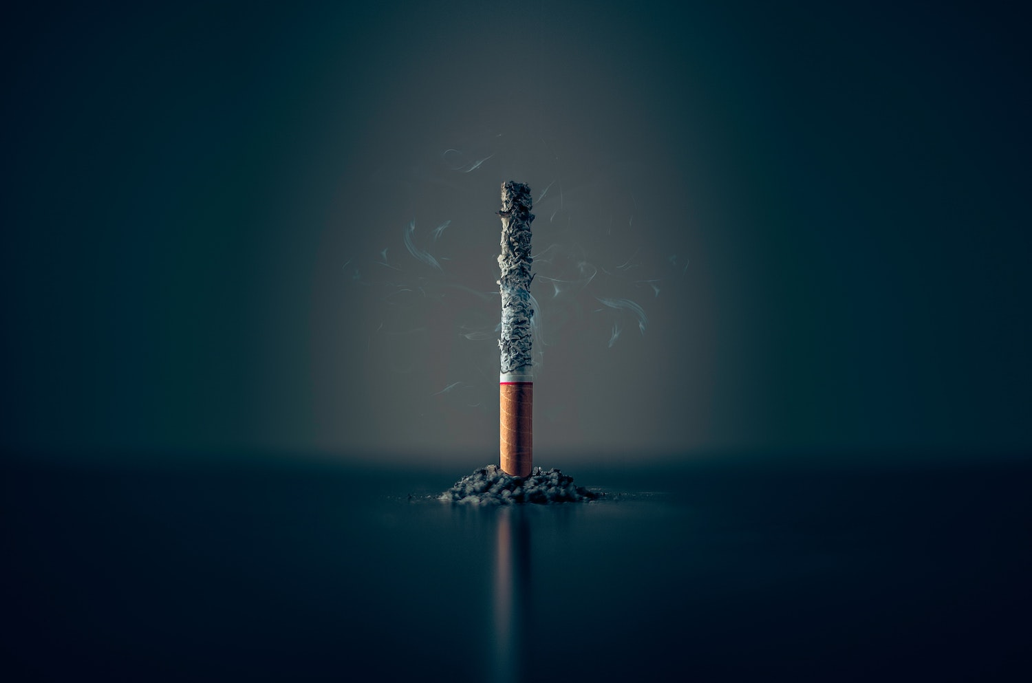 Image of a cigarette standing on it's filter and almost burnt all the way through