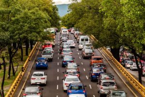 Streets with bumper to bumper traffic, an externality of cheap travel